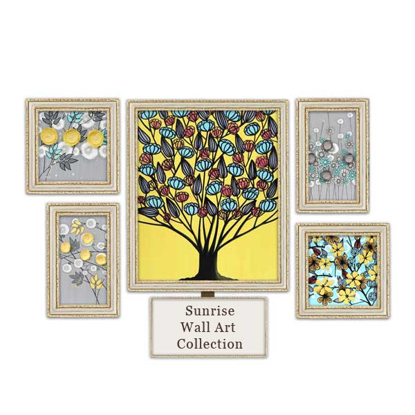 Gray, Yellow, Aqua Wall Art