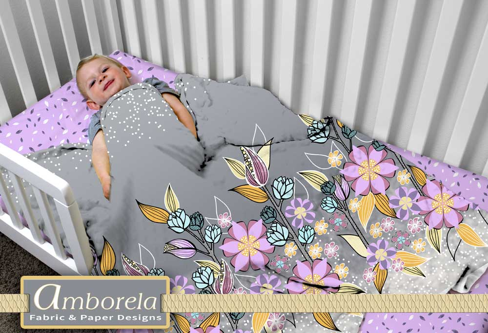 Lilac flower border fabric quilt and lilac crib sheet