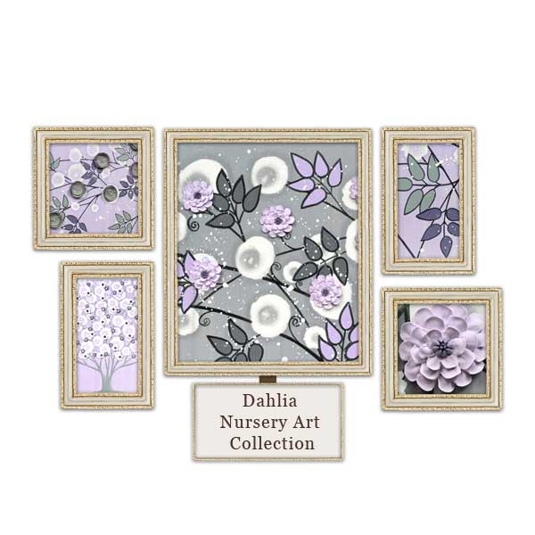 Lilac and gray nursery art collection