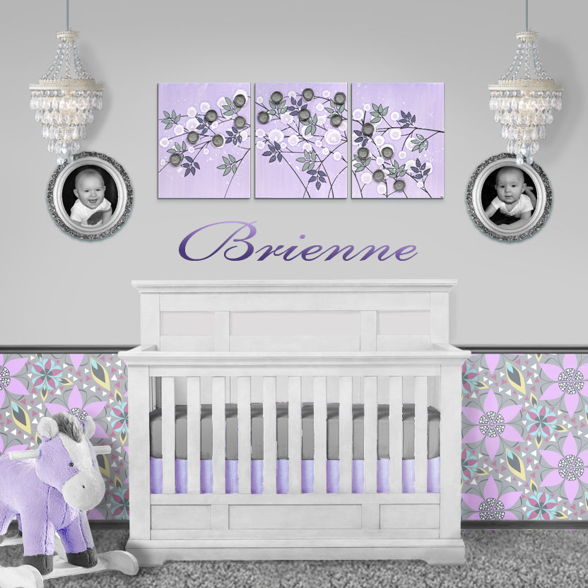 Coordinating wall art and wallpaper in lilac and gray for nursery