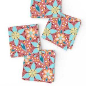 Fabric & Wallpaper: Mosaic Flowers in Punch Pink, Aqua