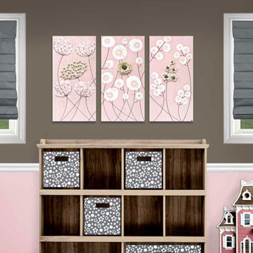 Triptych canvas art for pink nursery art