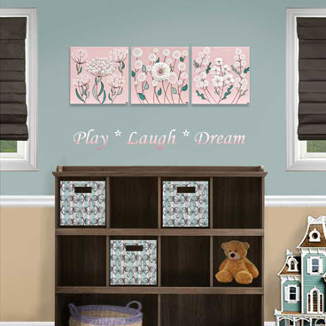 Pink and teal set of three paintings for girl's nursery art