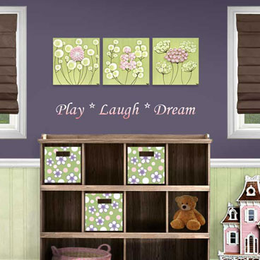 Flower nursery art set of three canvases in pink and green