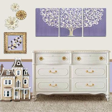 Tree nursery art triptych in purple and khaki