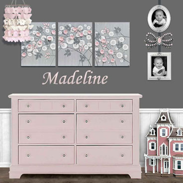 Nursery canvas art in gray and pink for flower nursery