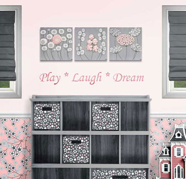 Three canvas art paintings of pink and gray flowers for girl's nursery