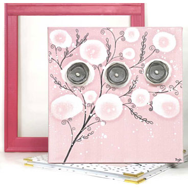 Small nursery canvas art of pink and gray poppy flowers