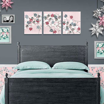 Painting of pink and gray flowers for girl's nursery