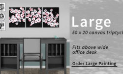 Size comparison for large canvas art size above office desk