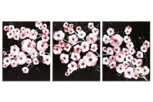 Office wall art red and black cherry blossoms