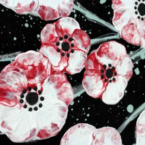 Wall Art Canvas Painting of Cherry Blossoms in Black, White, Red | Large – Extra Large