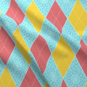 Argyle fabric in punch pink, aqua, and yellow