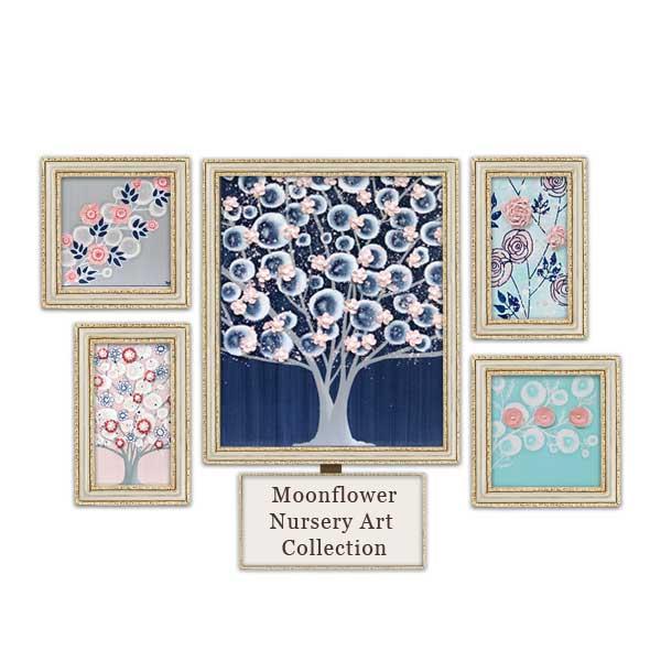 Pink, indigo blue, and aqua nursery art