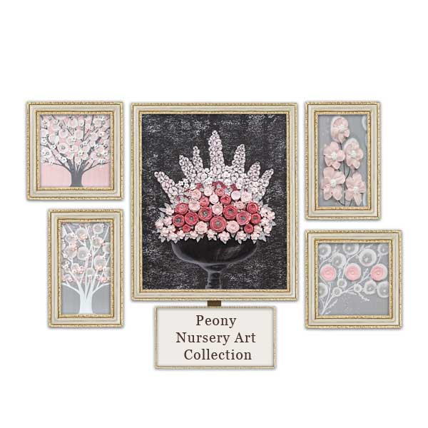 Pink and gray nursery art collection