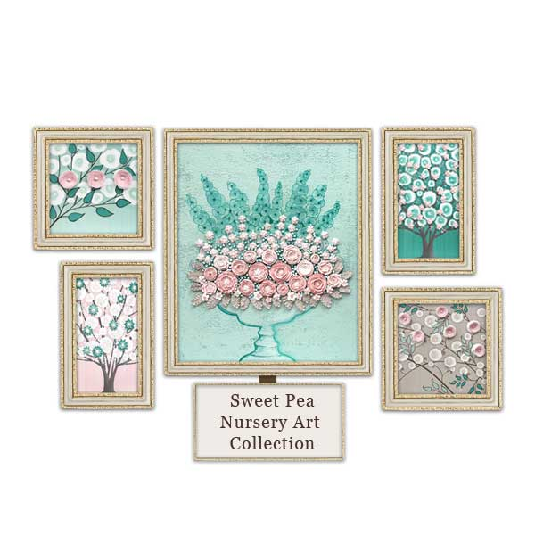 Pink, French gray, and teal nursery art