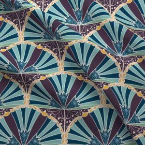 Plum, yellow, and teal art deco scallop trumpet flower fabric pattern