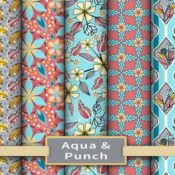 Fruit punch pink and aqua colorway of floral fabrics