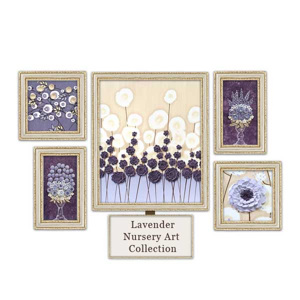 Lavender and brown nursery art collection