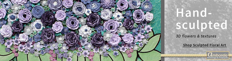 Hand-sculpted flowers on Amborela paintings