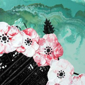 Office Wall Art, Set of 3 Flower Paintings in Teal, Black, Red – Extra Large