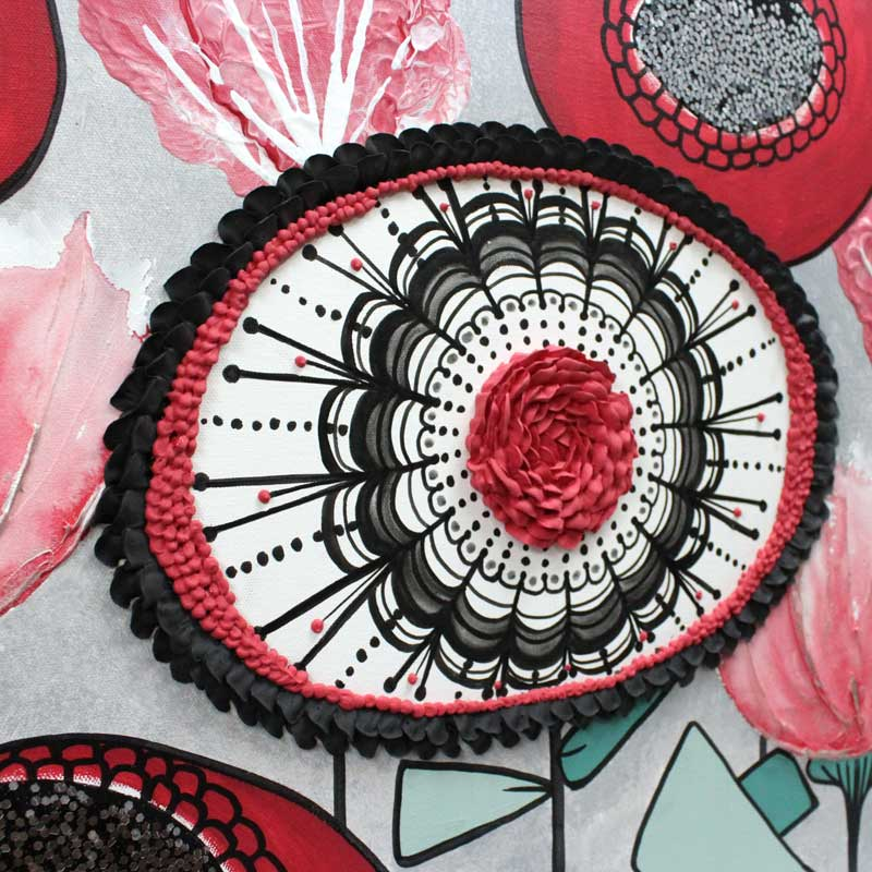 Mandala flower on office wall art set of 3 in black, teal, and red