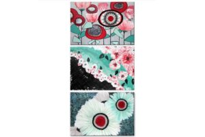 Office wall art set of 3 canvas black, teal, and red flower paintings