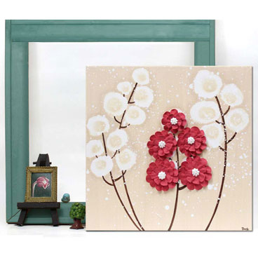 Small canvas art of flowers in red and khaki