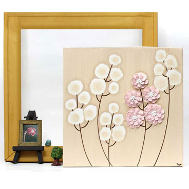 Small flower nursery art in khaki and pink