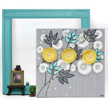 Small wall art in gray and yellow of flowers