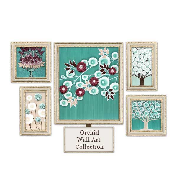 Teal and wine red wall art
