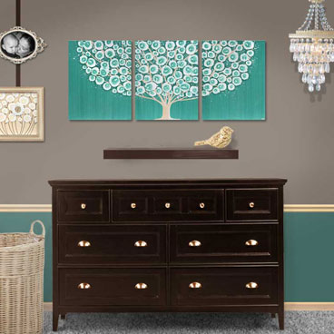 Teal wall art tree painting on large canvas