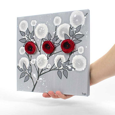 Small wall art painting of red rose