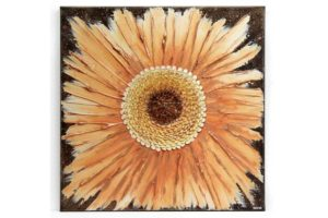 Sculpted Zinnia Flower Wall Art in Brown, Orange – Square