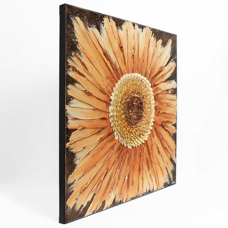 Side view of wall art painting of zinnia flower in orange and copper