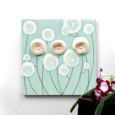 Teal wall art poppy painting