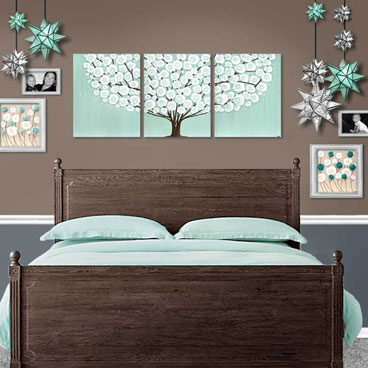 Teal wall art tree on canvas