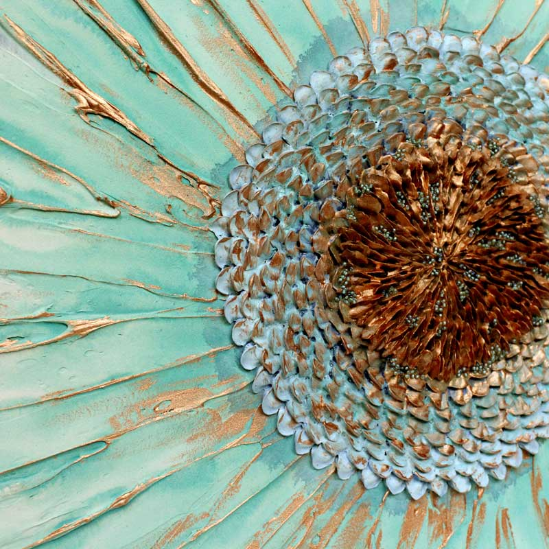 Center view of wall art painting of zinnia flower in teal and copper