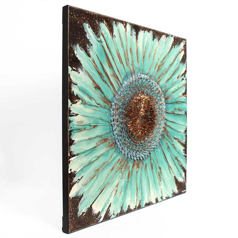 Side view of wall art painting of zinnia flower in teal and copper