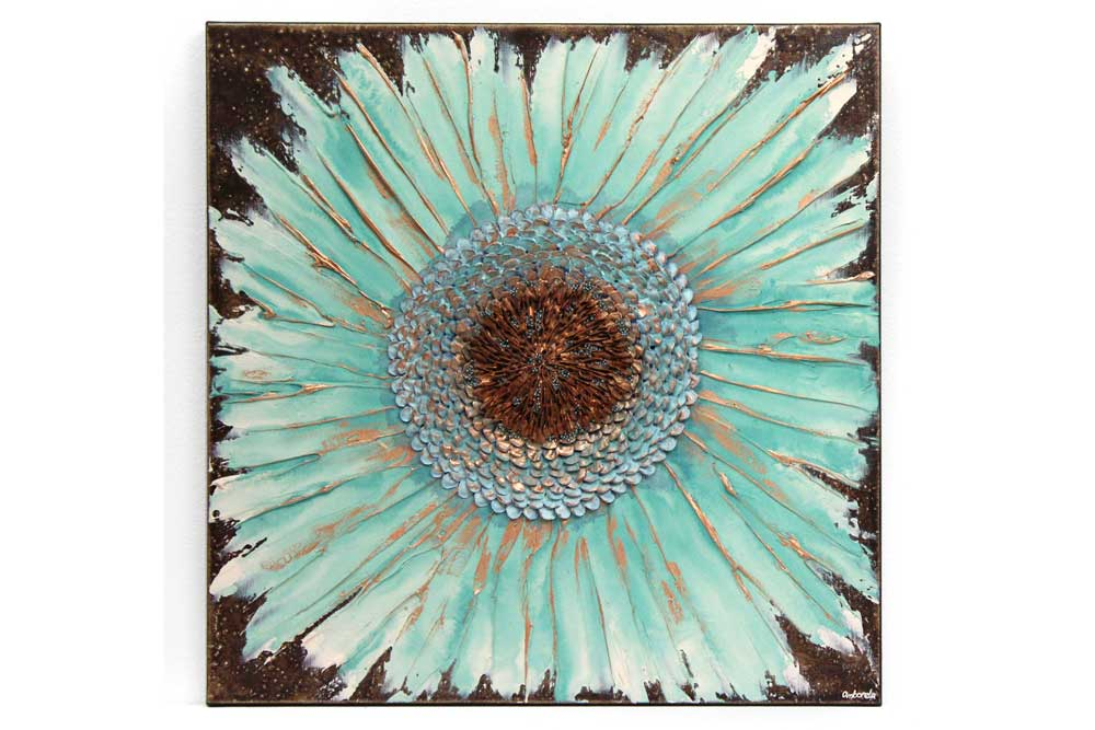 Wall art painting of zinnia flower in teal and copper