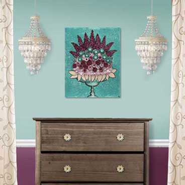 Wall art in teal and wine of rose still life