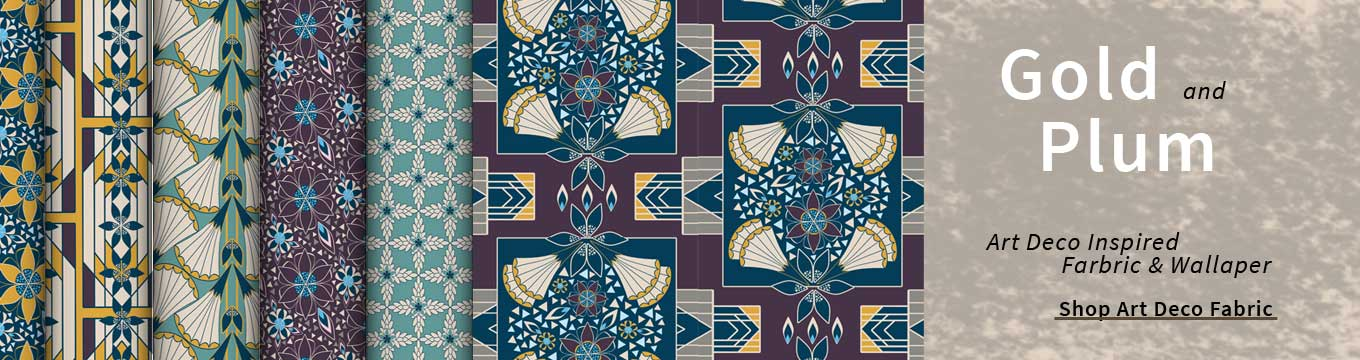 Art deco inspired fabric and wallpaper