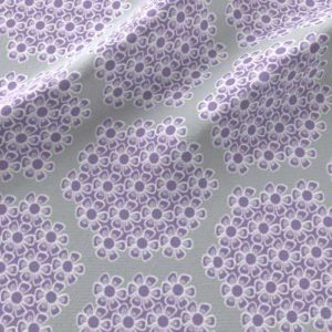 Lilac and gray hexagon nursery crib sheet fabric