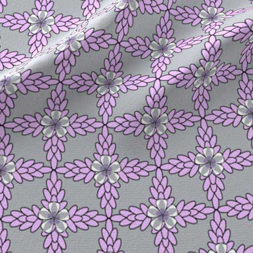 lilac and gray diamond pattern flower fabric