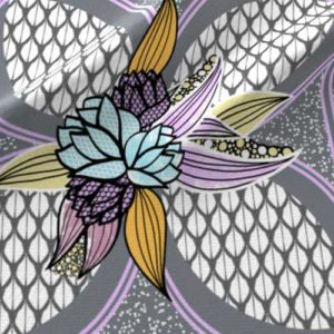 Lilac and gray quilt square fabric