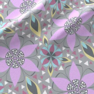 Lilac and gray star flower large scale fabric