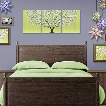 Triptych tree painting in green and purple for girl's room