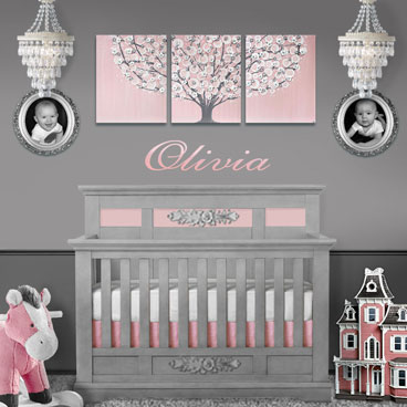 Large tree painting in pink and gray for girls nursery