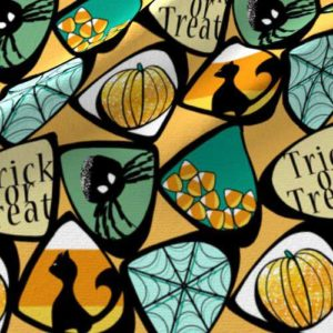Green, teal, and orange Halloween candy corn fabric
