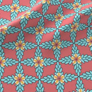Pink and aqua diamond patterned floral fabric